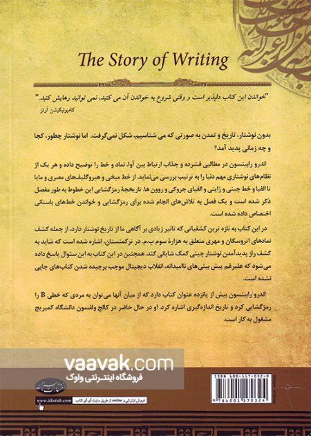تصویر پشت جلد کتاب تاریخچه پیدایش خط و نوشتار